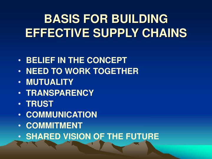 BASIS FOR BUILDING EFFECTIVE SUPPLY CHAINS