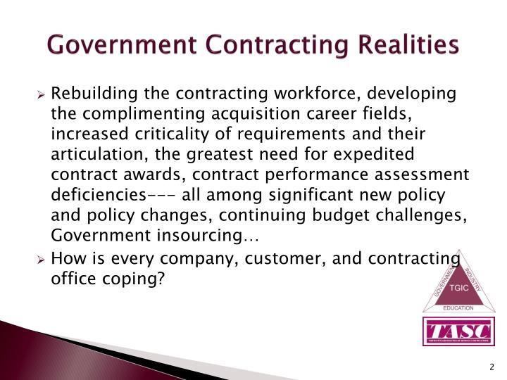 Government contracting realities