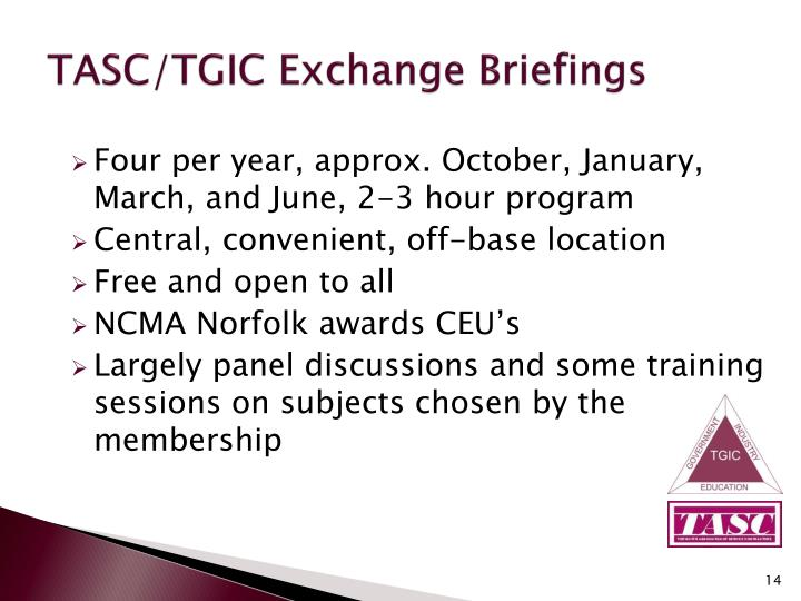 TASC/TGIC Exchange Briefings