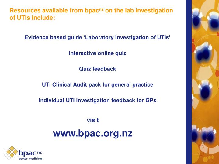 Evidence based guide 'Laboratory Investigation of UTIs'
