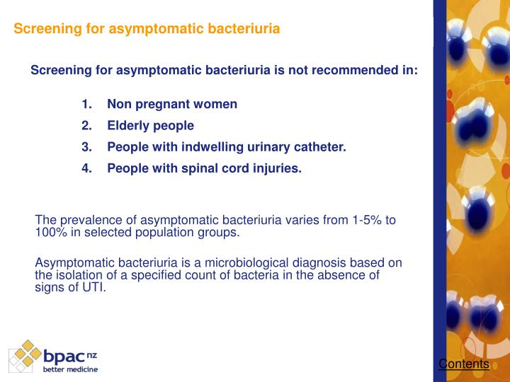 Screening for asymptomatic bacteriuria