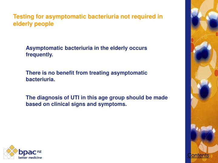 Testing for asymptomatic bacteriuria not required in elderly people