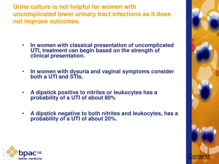 In women with classical presentation of uncomplicated UTI, treatment can begin based on the strength of clinical presentation.
