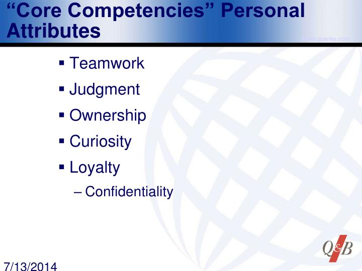 """Core Competencies"" Personal Attributes"