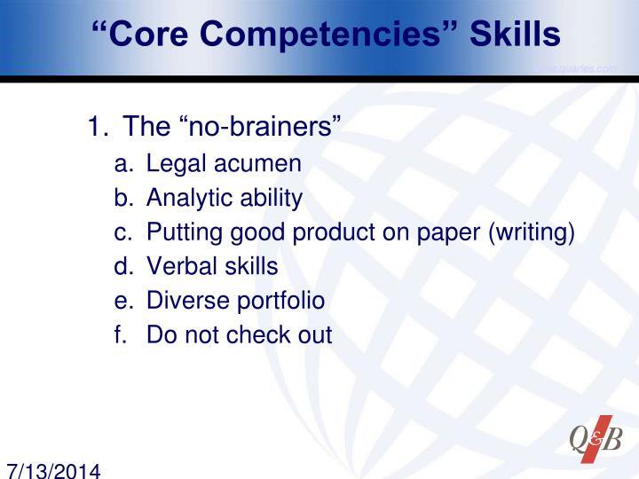 """""""Core Competencies"""" Skills"""