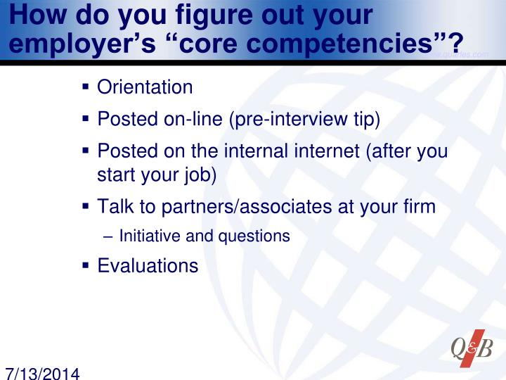 "How do you figure out your employer's ""core competencies""?"