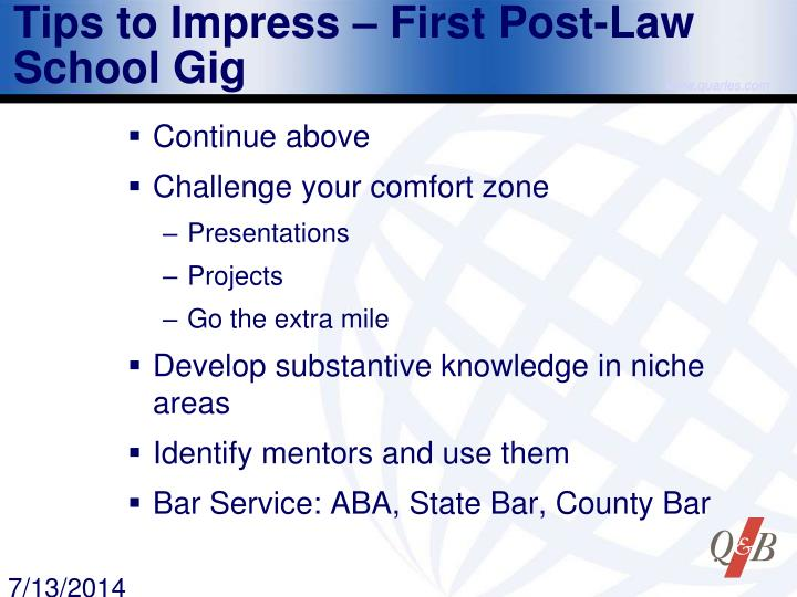 Tips to Impress – First Post-Law School Gig