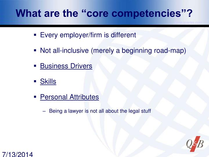"What are the ""core competencies""?"