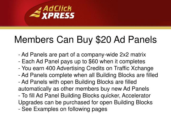 Members Can Buy $20 Ad Panels