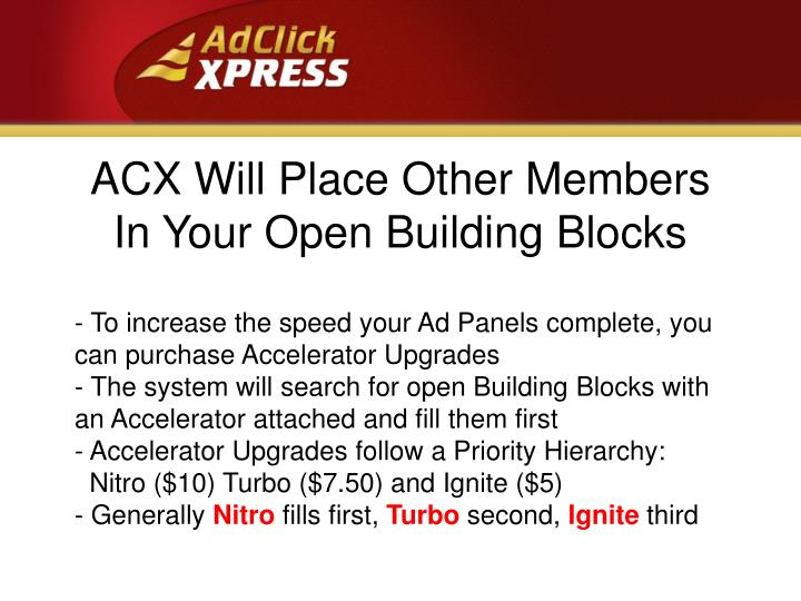 ACX Will Place Other Members  In Your Open Building Blocks