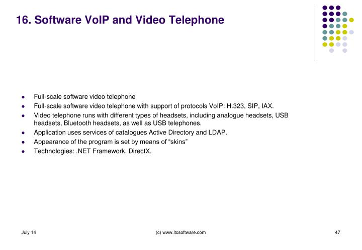 16. Software VoIP and Video Telephone