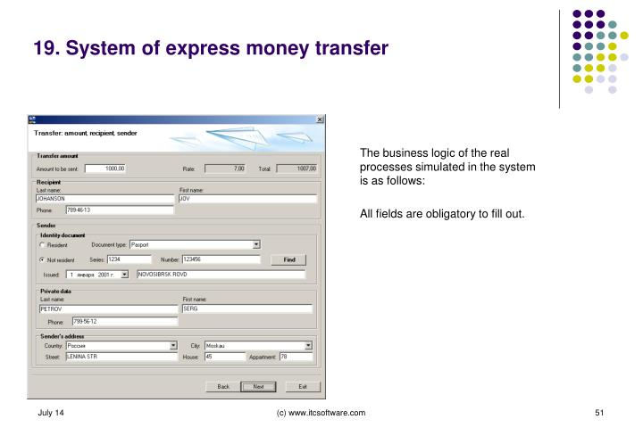 19. System of express money transfer