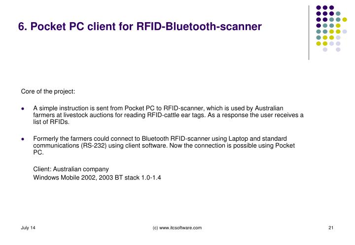 6. Pocket PC client for RFID-Bluetooth-scanner