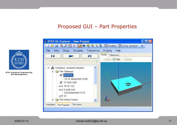 Proposed GUI – Part Properties