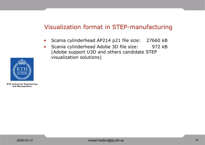 Visualization format in STEP-manufacturing