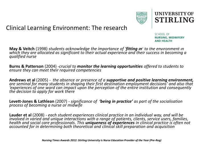 Clinical Learning Environment: The research