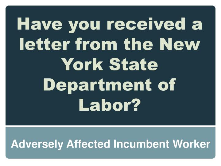 Have you received a letter from the New York State Department of Labor?