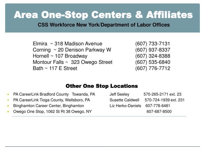 Area One-Stop Centers & Affiliates