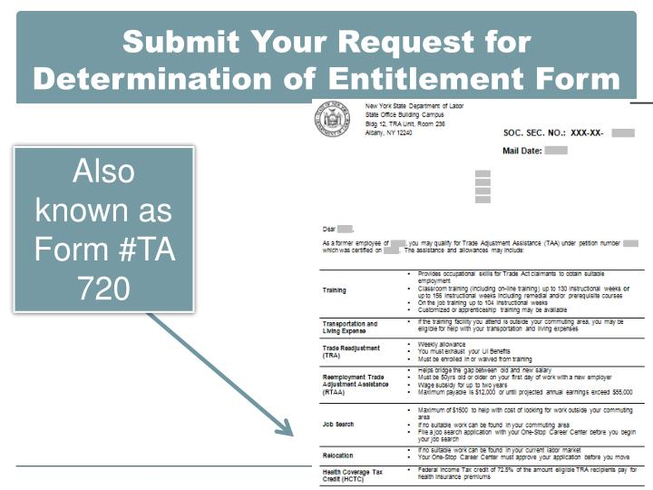 Submit Your Request for Determination of Entitlement Form