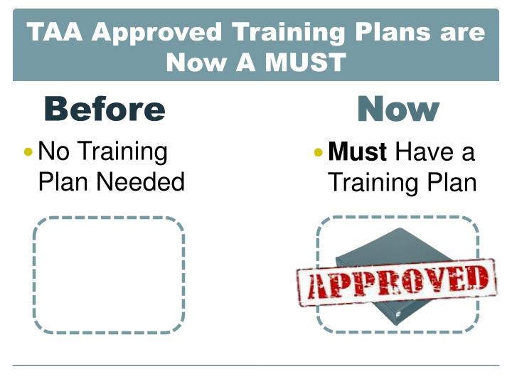 TAA Approved Training Plans are Now A MUST