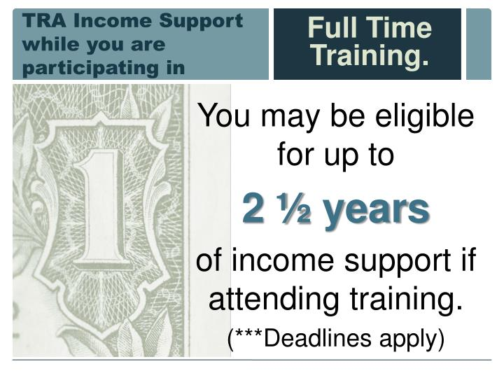TRA Income Support while you are participating in