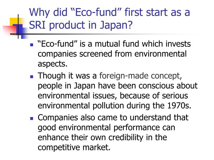 """Why did """"Eco-fund"""" first start as a SRI product in Japan?"""