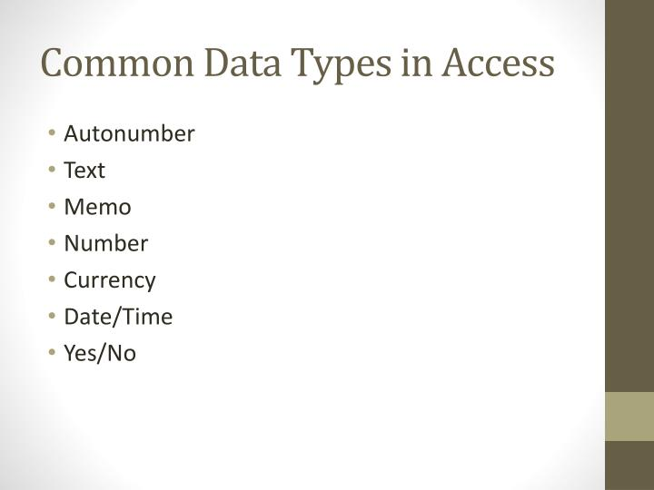 Common Data Types in Access