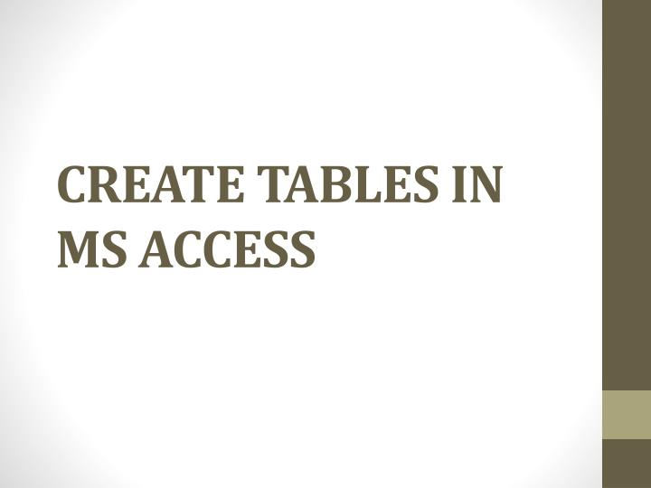 Create Tables in
