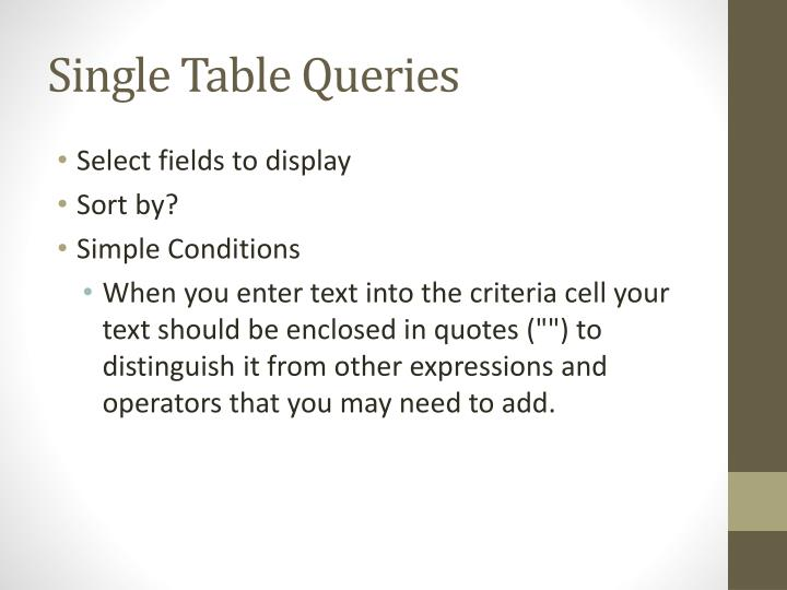 Single Table Queries