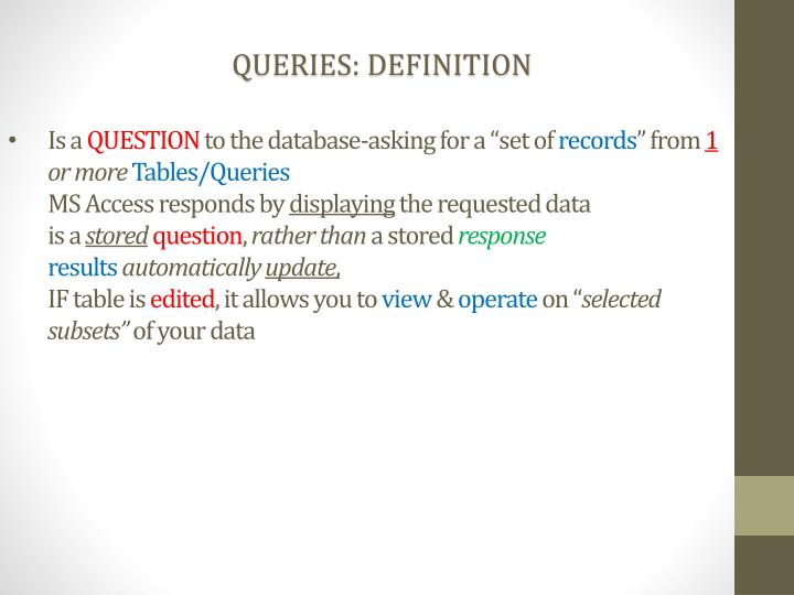 QUERIES: DEFINITION