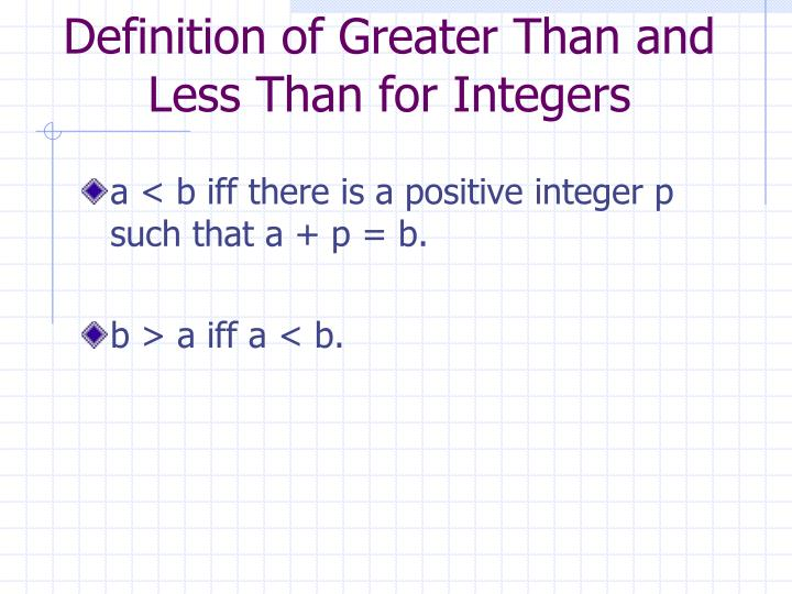 Definition of Greater Than and Less Than for Integers