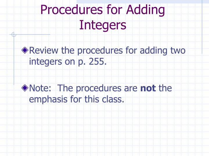 Procedures for Adding Integers