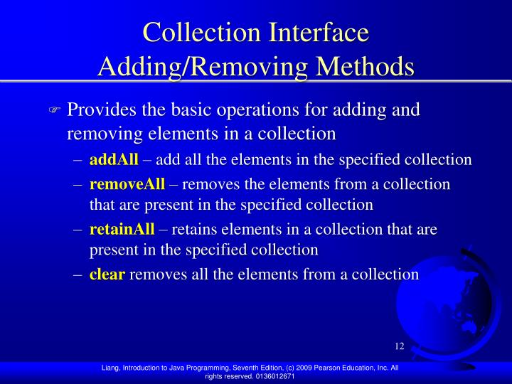 Collection Interface Adding/Removing Methods