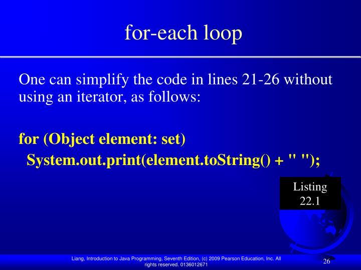 for-each loop
