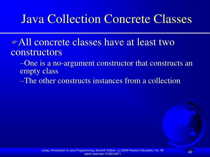Java Collection Concrete Classes