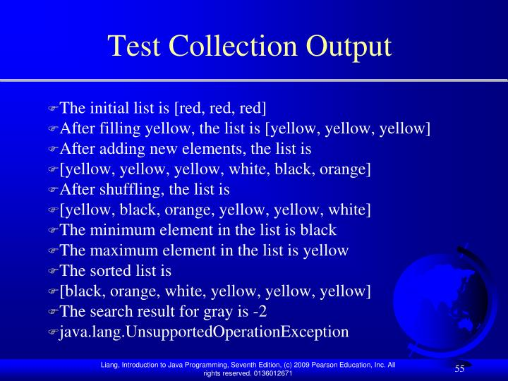 Test Collection Output