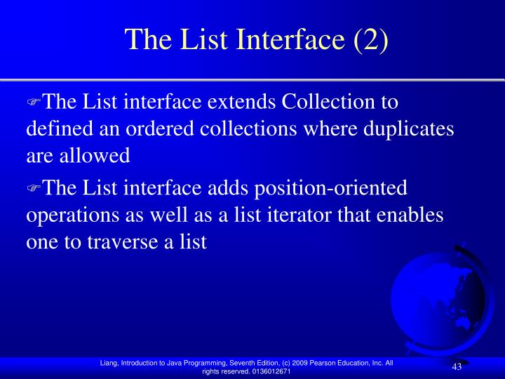 The List Interface (2)