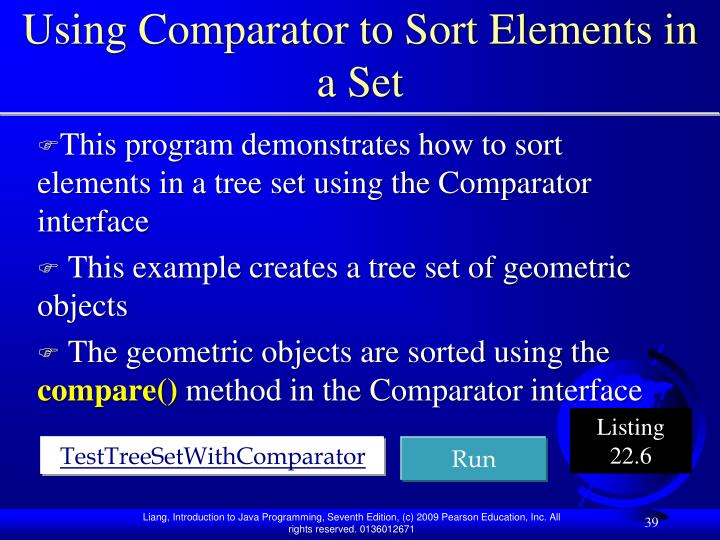 Using Comparator to Sort Elements in a Set