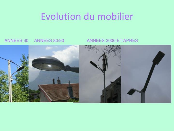 Evolution du mobilier