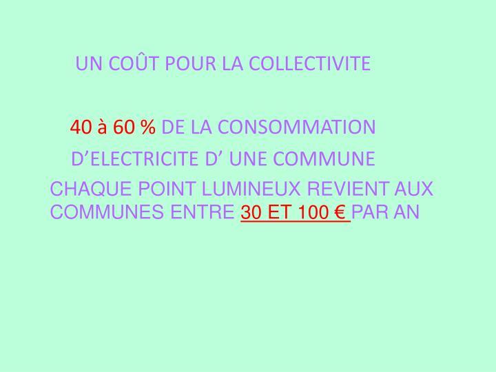 CHAQUE POINT LUMINEUX REVIENT AUX COMMUNES ENTRE