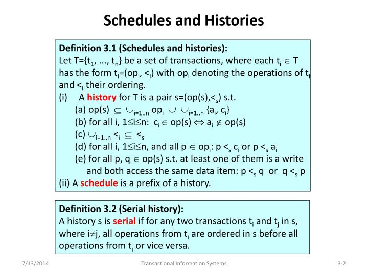 Schedules and Histories