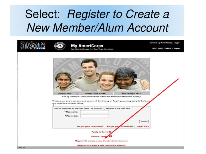 Select register to create a new member alum account