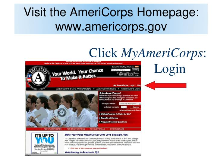 Visit the americorps homepage www americorps gov