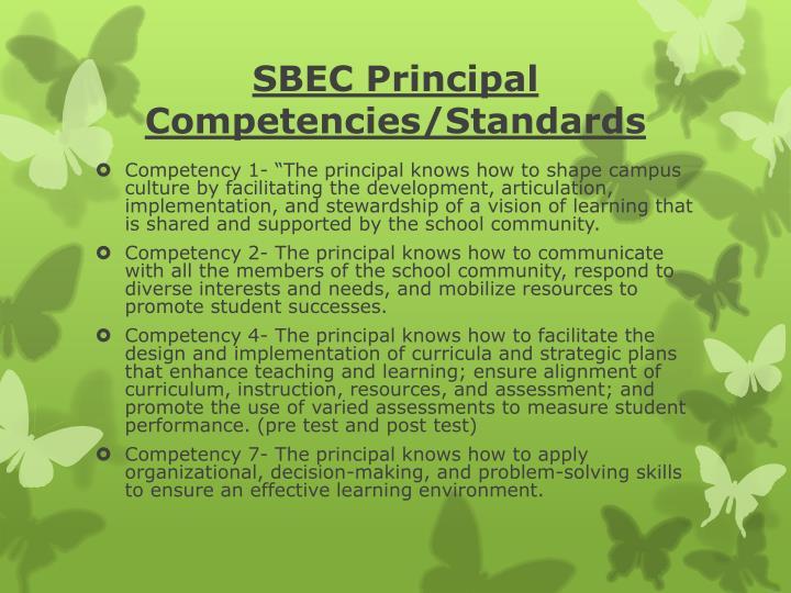 SBEC Principal Competencies/Standards