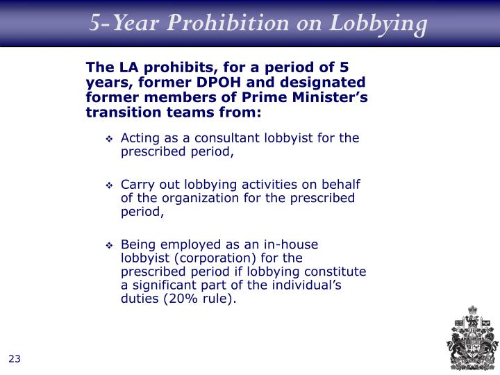 5-Year Prohibition on Lobbying