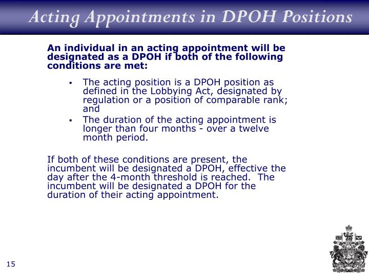 Acting Appointments in DPOH Positions