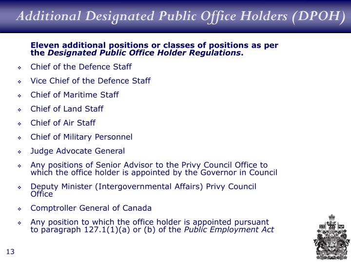Additional Designated Public Office Holders (DPOH)