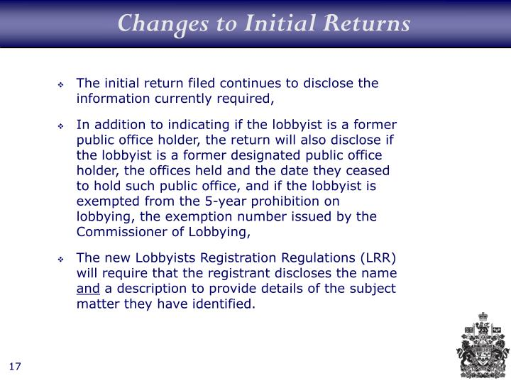 Changes to Initial Returns