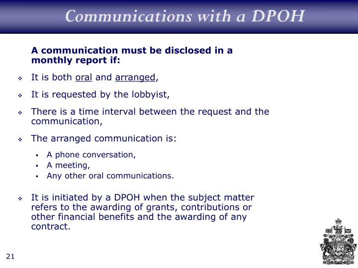 Communications with a DPOH