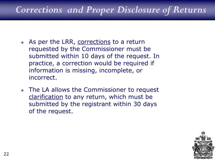 Corrections  and Proper Disclosure of Returns
